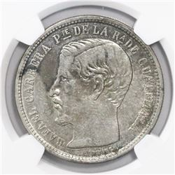Guatemala, 1 peso, 1865R, large R, encapsulated NGC AU 50, ex-Richard Stuart (designated on tag).