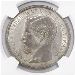Guatemala, 1 peso, 1867R, encapsulated NGC AU 55, ex-Richard Stuart (designated on tag).