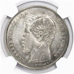 Guatemala, 1 peso, 1868R, encapsulated NGC XF details / surface hairlines, ex-Richard Stuart (design
