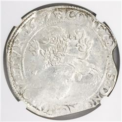 "West Friesland, United Netherlands, ""lion"" daalder, 1647, encapsulated NGC AU 58."