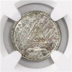 Nicaragua (Heaton mint), 10 centavos, 1880-H (1821 reverse), encapsulated NGC MS 63.