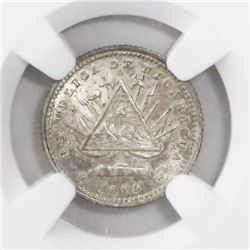 Nicaragua (Heaton mint), 5 centavos, 1880-H (1821 reverse), encapsulated NGC MS 64.