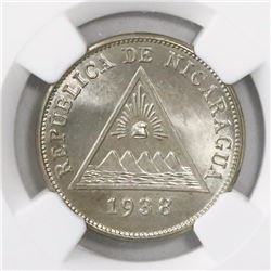 Nicaragua, copper-nickel 5 centavos, 1938, encapsulated NGC MS 66, finest known in NGC census, ex-Ri