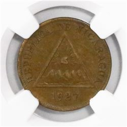 Nicaragua, bronze 1 centavo, 1927, encapsulated NGC AU 53 BN, finest and only specimen in NGC census