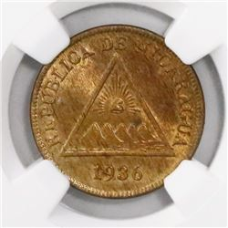 Nicaragua, bronze 1 centavo, 1936, encapsulated NGC MS 65 RB, finest known in NGC census, ex-Richard