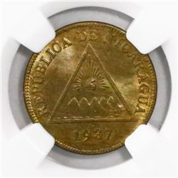 Nicaragua, copper 1 centavo, 1937, encapsulated NGC MS 66 BN, finest known in NGC census.