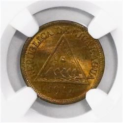 Nicaragua (Philadelphia mint), bronze 1/2 centavo, 1917, encapsulated NGC MS 66 RB, finest known in