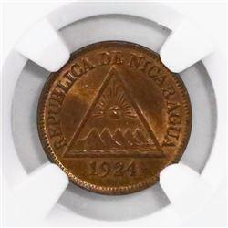 Nicaragua (Philadelphia mint), bronze 1/2 centavo, 1924, encapsulated NGC MS 65 RB, ex-Richard Stuar