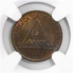 Nicaragua (Philadelphia mint), bronze 1/2 centavo, 1937, encapsulated NGC MS 65 BN, finest known in