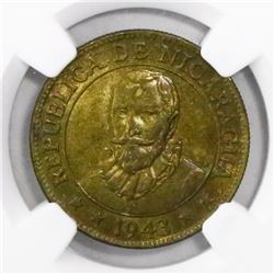 Nicaragua, brass 10 centavos, 1943, encapsulated NGC MS 65, ex-Richard Stuart.