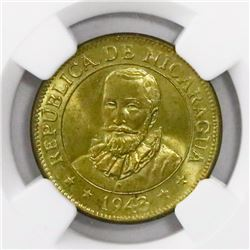 Nicaragua, brass 5 centavos, 1943, encapsulated NGC MS 67, finest known in NGC census, ex-Richard St