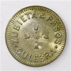 Panama, copper-nickel 5 centavos token, Zubieta & Pasos, Culebra, ca. 1870s.
