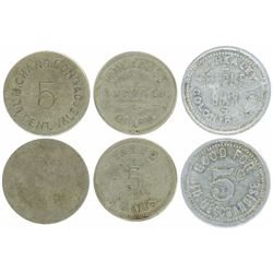 Study group of three Colon, Panama, merchant tokens, Lum Chang Long & Co., nickel 5 cents, 1850s-188