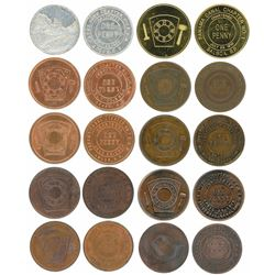Lot of ten Panama base-metal penny tokens, 1900s, Masonic pennies, ex-Richard Stuart.