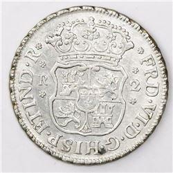 Lima, Peru, pillar 2 reales, Ferdinand VI, 1752J.