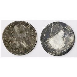 Lot of two Lima, Peru, bust 2 reales: Charles III, 1779MJ; Charles IV, 1808JP.