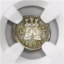 Lima, Peru, 1/4 real, 1808, encapsulated NGC MS 63.