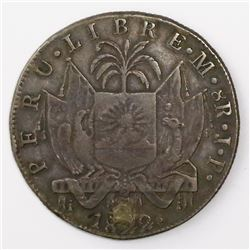 Lima, Peru, 8 reales (provisional), 1822JP, ex-Almanzar.