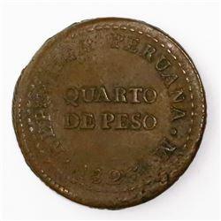 Lima, Peru, copper 1/4 peso (provisional), 1823.