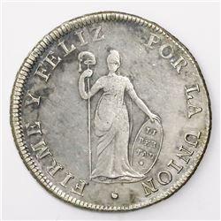 Lima, Peru, 8 reales, 1826JM, small Liberty.
