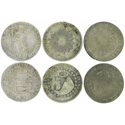 Lot of three Peru 4 reales (Cuzco 1836B and Arequipa 1838MV [2]), ex-Almanzar.