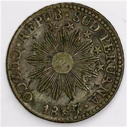 Cuzco, Peru, 2 reales, 1837BA.