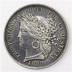 Lima, Peru, 5 pesetas, 1880BF, B without dot.