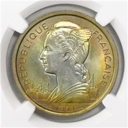 Reunion, copper-nickel essai 2 francs, 1948, encapsulated NGC MS 67, finest known in NGC census.