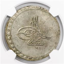 Turkey (Ottoman Empire), billon 1 piastre, AH1171//83 (1770), Mustafa III, encapsulated NGC MS 62.
