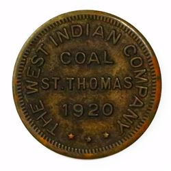 St. Thomas, U.S. Virgin Islands, uniface copper coal token, 1920, The West Indies Company.