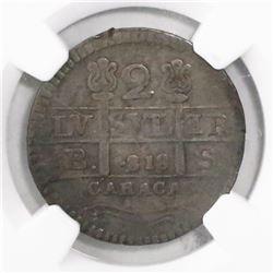 Caracas, Venezuela (Republican issue), 2 reales, 1818BS (struck in 1830), rosettes flanking cross, e