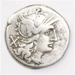 Roman Republic, AR denarius, Cn. Baelius Tamphilus, 194-190 BC.