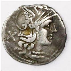Roman, Republic, AR denarius, P. Aelius Paetus, 138 BC, Rome mint.