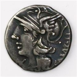 Roman, Republic, AR denarius, M. Baebius Q.f. Tampilus, 137 BC, Rome mint.