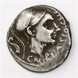 Roman Republic, AR denarius, Cn. Cornelius Blasio, 112/111 BC.