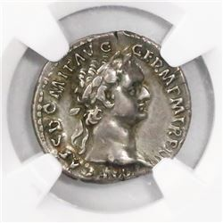 Roman Empire, AR denarius, Domitian, 81-96 AD, encapsulated NGC XF strike 5/5 surface 3/5. Rome mint