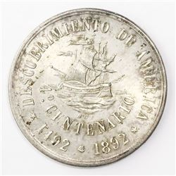 Bogota, Colombia, silver medal, 1892, 400th anniversary of the discovery of the Americas.