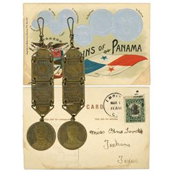 "Panama, GOP and Theodore Roosevelt base-metal watch fob plus ""Coins of Panama"" postcard, early 1900s"