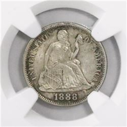 USA (Philadelphia mint), dime Seated Liberty, 1888, encapsulated NGC MS 63.