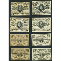 Lot of eight USA (Washington, D.C.), fractional notes, 3-3-1863, third series.