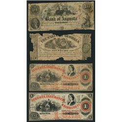 Lot of four Georgia notes, 1858-64