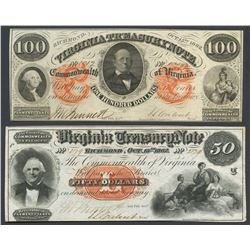 Lot of two Richmond, Virginia, Virginia Treasury notes, 15-10-1862.