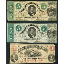 Lot of seven Richmond, Virginia Treasury notes, 1862.