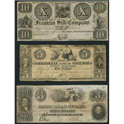 Lot of ten obsolete notes, 1830s-1864.