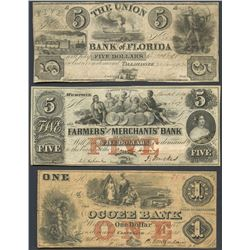 Lot of three obsolete notes, 1836-60.