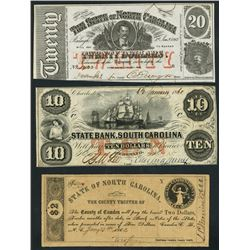 Lot of three Southern obsolete notes, 1860-63.