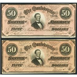 Lot of two Richmond, CSA, $50, 17-2-1864, plate Ax, 3rd series, with red tints.