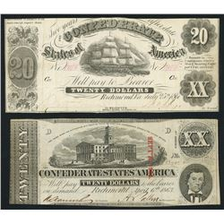 Lot of two Richmond, CSA, $20 notes, 1861-63.