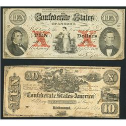 Lot of two Richmond, CSA, $10, 2-9-1861.