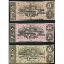 Lot of three Richmond, CSA, $10 notes, 1862-63.